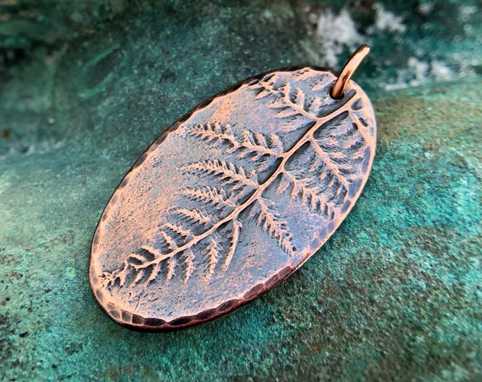 Copper Oval Fern Pendant, Rustic Botanical Focal Pendant