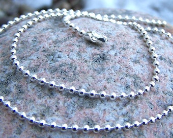 Silver Plated Ball Chain 2.4mm, Shiny Finish, Your Choice of Length, Necklace Chain