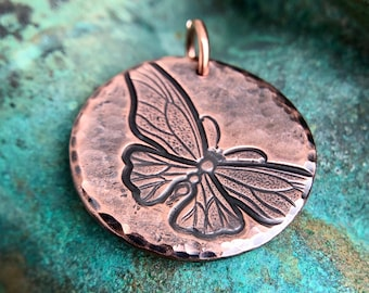 Copper Butterfly Pendant, In Flight, Gift for Her, Summer Jewelry, Round, Hammered