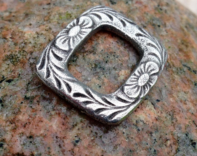 Floral Bracelet Link, Hand Cast Pewter Flower Frame Pendant, Jewelry Making Supply