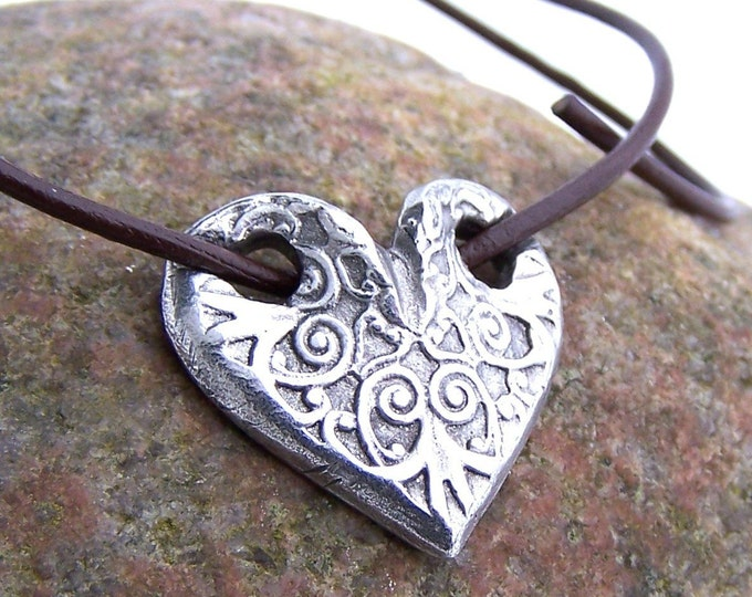Through My Heart Necklace, Embossed Heart Pendant