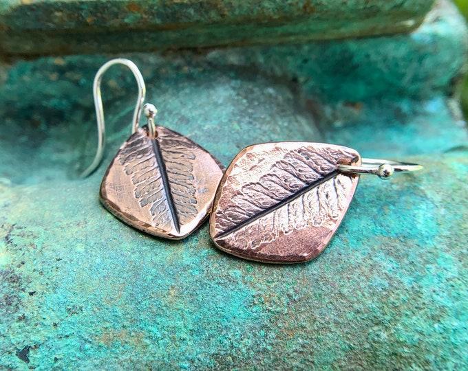 Copper Fern Impression Earrings, Sterling Silver Earwires