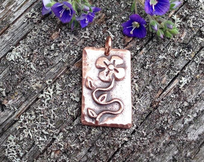 Copper Flower Pendant, Grow Gardener Gift, Summer Jewelry