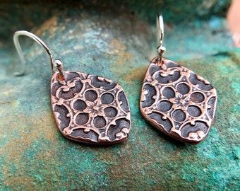 Copper Mandala Earrings, Sterling Silver Ear Wires, Diamond Shape, Rustic Floral Jewelry, Summer Earrings, Gift for Her,