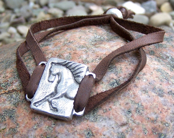 Adjustable Unbridled Horse Bracelet, Handcast Pewter, Soft Leather Lace, Brown, Black