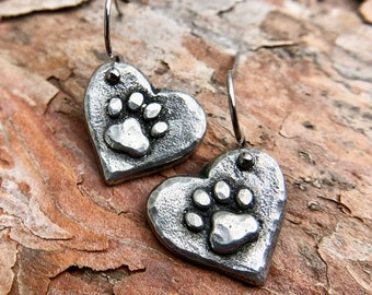 Paw Print Heart Earrings, Hypoallergenic Stainless Steel Ear Wires, Hand Cast Pewter Paw Prints, Rustic Pet Jewelry, Gift for Her, Dog Mom