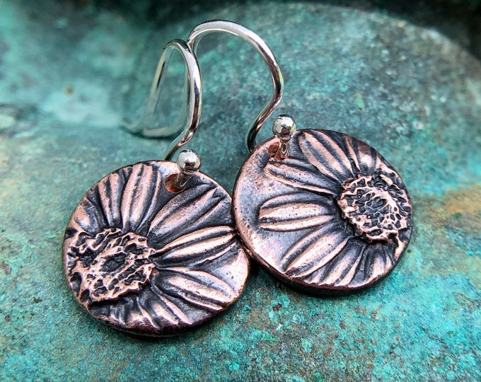 Little Copper Daisy Earrings, Sterling Silver Earwires