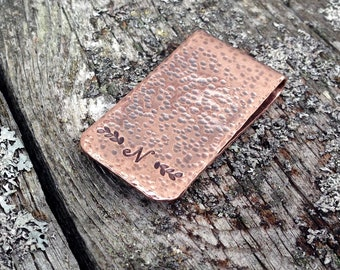 Personalized Copper Initial Money Clip, Monogram Gift