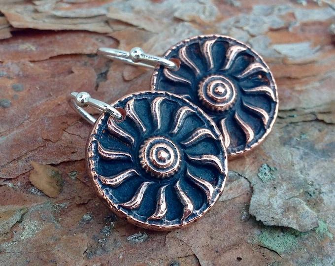Copper Sun Earrings, Sterling Silver Ear Wires, Rustic Summer Jewelry