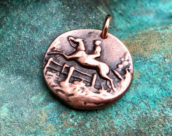 Copper Horse and Rider Pendant, Equestrian Over Fences