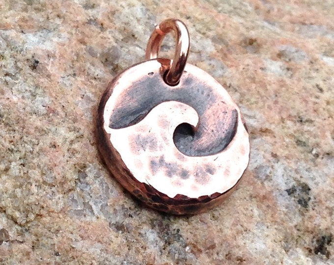 Small Copper Wave Pendant, Ocean Charm, Beach Jewelry