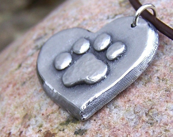 Paw Print on my Heart Necklace, Heart Paw Print Pendant, Pet Lover Jewelry