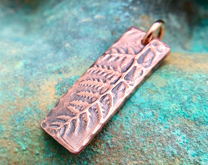Small Copper Fern Pendant, Skinny Botanical Pendant,