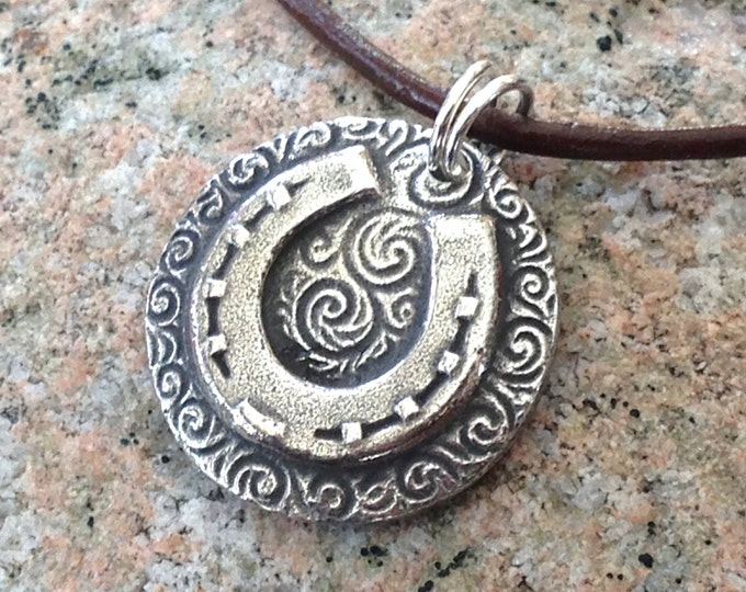 Horse Shoe Pendant or Necklace, Country Western, Rustic Horse Lover Jewelry