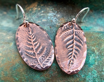 Oval Copper Fern Earrings, Sterling Silver Earwires