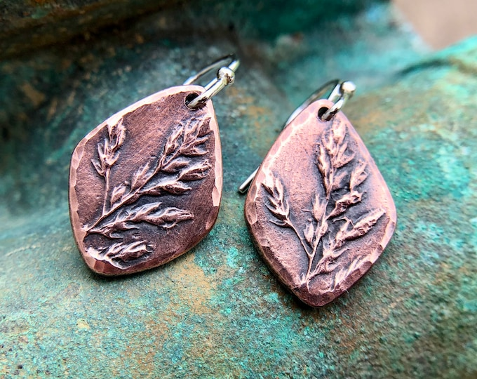 Copper Meadow Earrings, Sterling Silver Earwires, Rustic Grassland