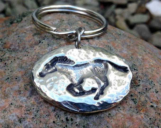 Running Horse Key Chain, Mustang Key Ring, Hammered