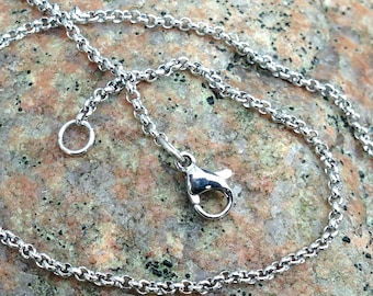 Stainless Steel Rolo Chain 2mm, Finished Necklace Chain
