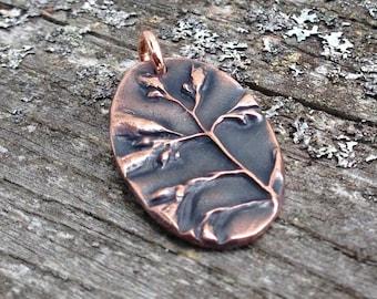 Oval Copper Wildflower Pendant, Botanical Focal Pendant, Plant Study
