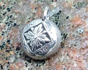 Tiny Flower Pendant, Small Domed Flower Charm, Handcast Pewter