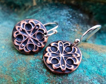 Tiny Copper Raised Design Earrings, Sterling Silver Earwires, Mixed Metal