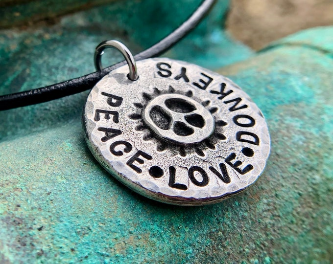 Peace Love Donkeys Necklace, Rustic Jewelry, Gift for Her, Hand Stamped, Hand Cast Pewter Pendant, Leather Cord