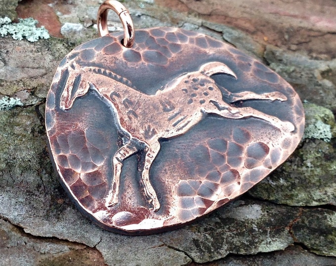 Copper Spirit Horse Pendant, Indian Pony, Rustic Horse Jewelry, Horse Lover, Large Focal Pendant, Equestrain Gift, Primative Pony