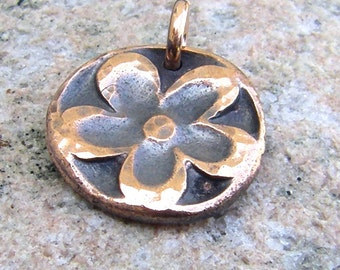 Copper Retro Flower Pendant or Charm