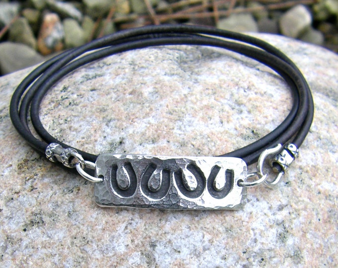 Horse Shoe Wrap Bracelet, Lucky Four Horseshoes, Pewter and Leather