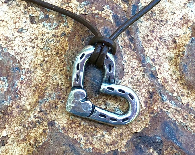 Heart and Horse Shoes Pendant or Necklace, Rustic Horse Jewelry, Horse Lover Gift