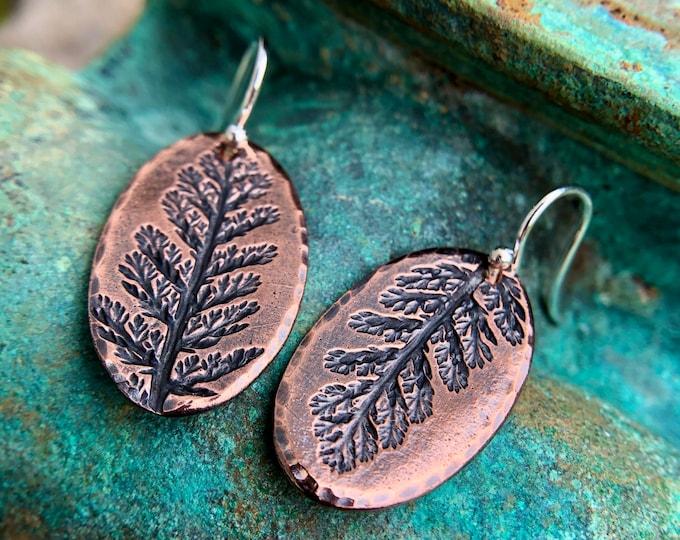 Oval Copper Yarrow Imprint Earrings, Sterling Silver Earwire