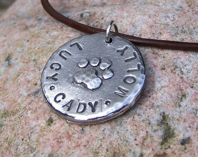 Personalized Pet Lovers Necklace, Paw Print Pendant with Names
