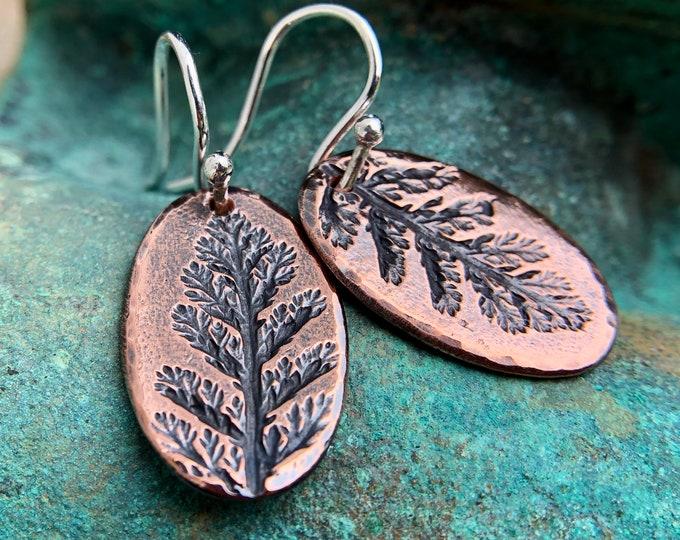 Oval Copper Yarrow Imprint Earrings, Sterling Silver Earwires