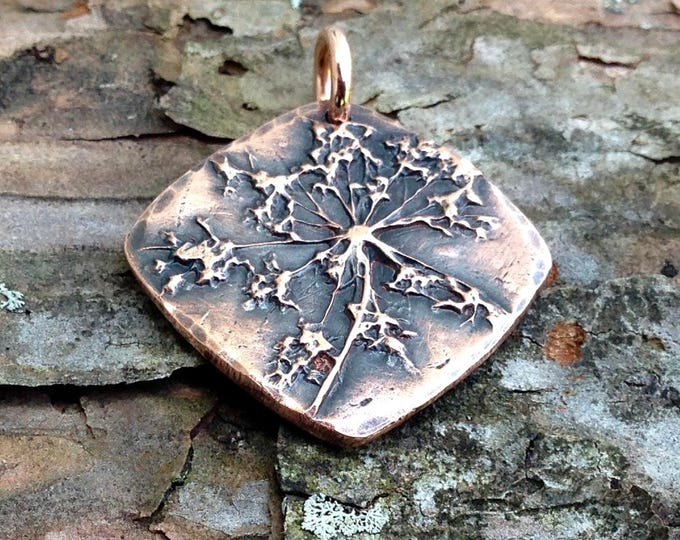 Copper Queen Anne's Lace Flower Charm