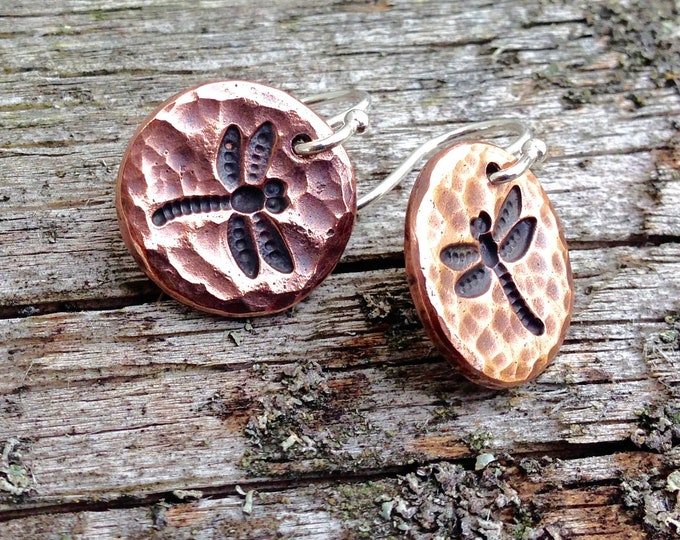 Copper Dragonfly Earrings with Sterling Silver Earwires, Mixed Metal Earrings