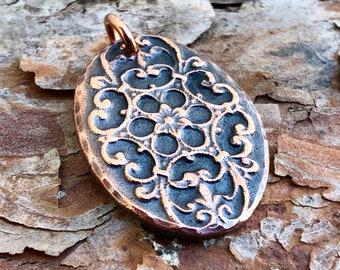 Copper Oval Flower Mandala Pendant