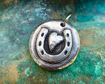 Horse Shoe Heart Pendant, Horse Love Charm, Hand Cast Pewter