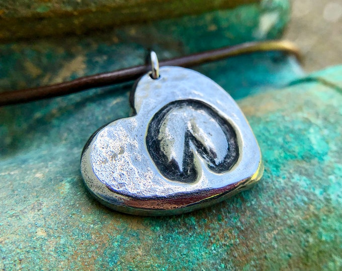 Barefoot Hoofprint on my Heart Necklace, Hoof Print Pendant