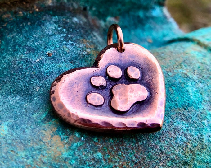 Copper Heart Paw Pendant, Pet Jewelry