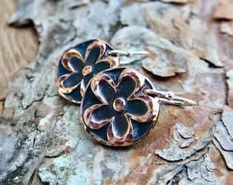 Copper Flower Power Earrings, Drop Earrings, Sterling Silver Earwires