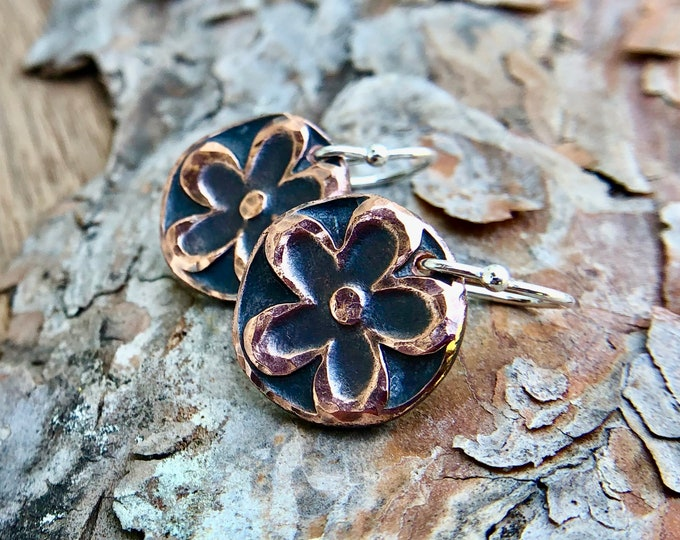 Copper Flower Power Earrings, Drop Earrings, Sterling Silver Earwires