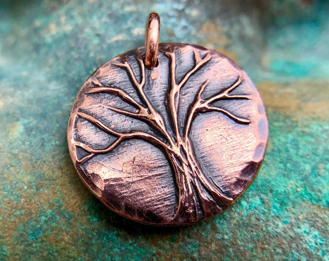 Copper Tree Pendant, Rustic Tree of Life Charm, Antiqued, Recycled, Hammered Edge