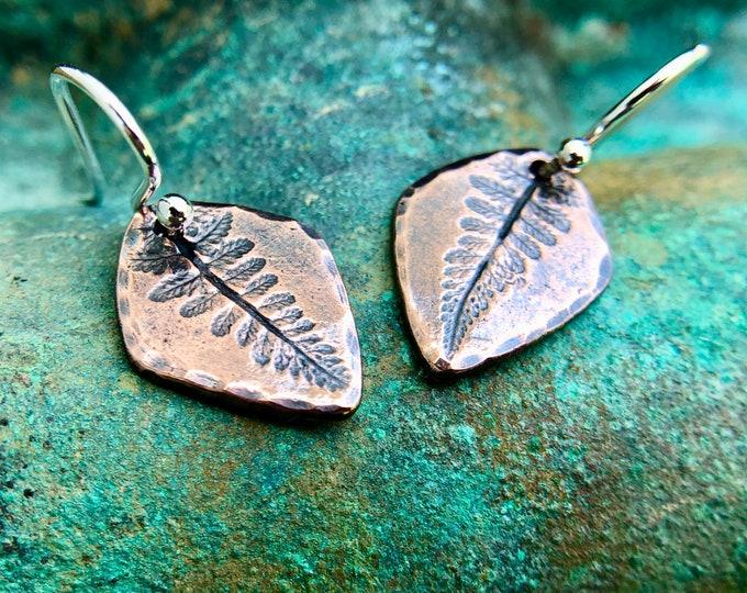 Copper Fern Imprint Earrings, Sterling Silver Earwires