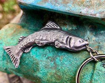 Trout Keychain, Handcast Pewter Fish, Fisherman Gift