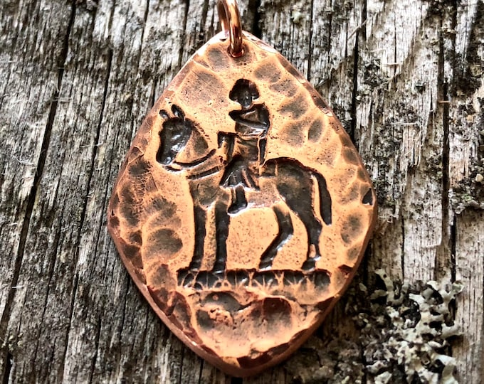 Copper Horse and Rider Pendant, Cowgirl Jewelry