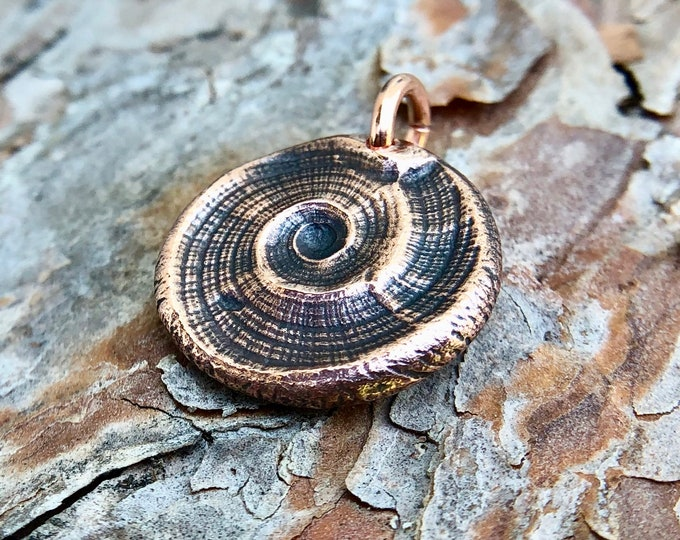 Copper Beach Pendant, Natures Swirl, Sea Shell Imprint