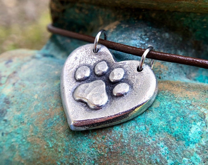 Paw Print on my Heart Necklace, Paw Print Heart Pendant, Rustic Pet Jewelry, Dog Mom Gift, Cat Lover, Hand Cast Pewter
