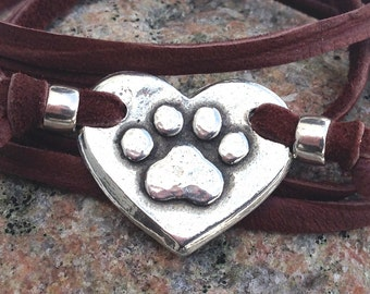 Paw Print on my Heart Wrap Bracelet, Adjustable Hand Cast Pewter and Leather