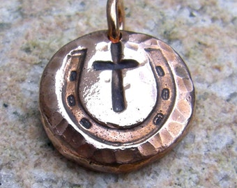 Copper Cowgirl Cross Pendant or Charm