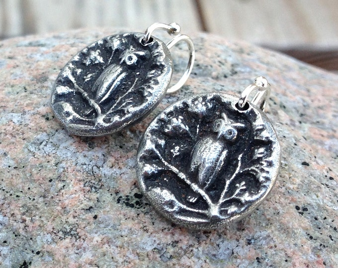 Tiny Owl Earrings, Pewter on Sterling Silver Earwires, Drop Earrings